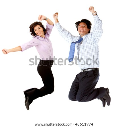 Happy business couple jumping isolated over a white background