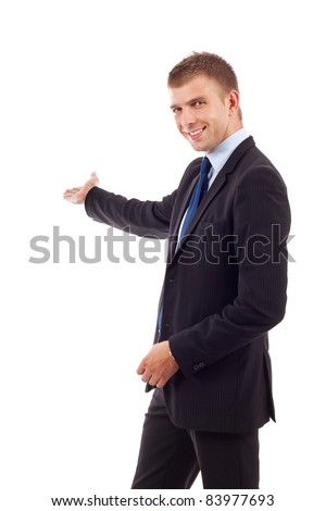 Happy business man giving presentation on white background