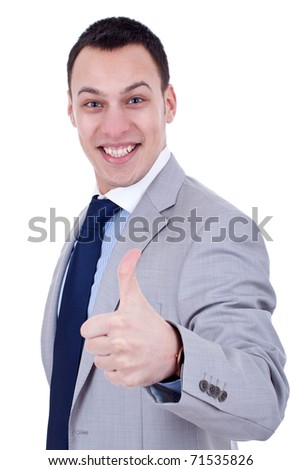 happy business man with thumbs up, over white