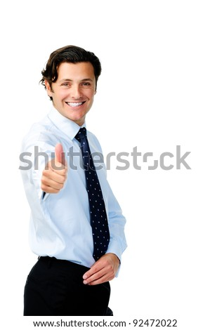 Happy business manager smiles positively and gives the thumbs up