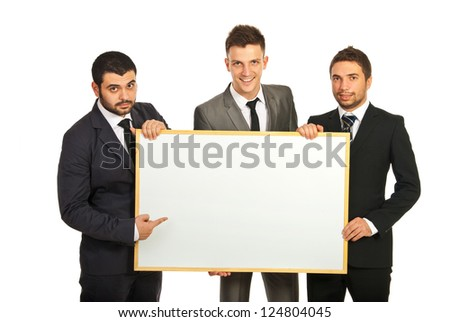 Happy business men team holding blank banner isolated on white background