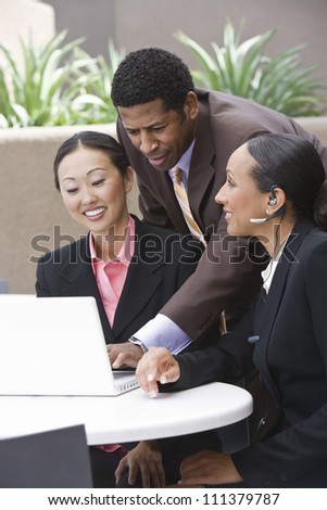 Happy business people in a meeting