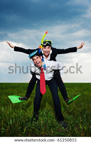 White collar workers going to vacation