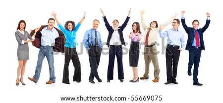 stock photo : Happy  business people. Isolated over white background