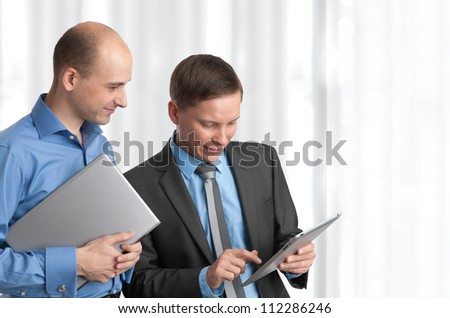 Happy business people meeting - stock photo