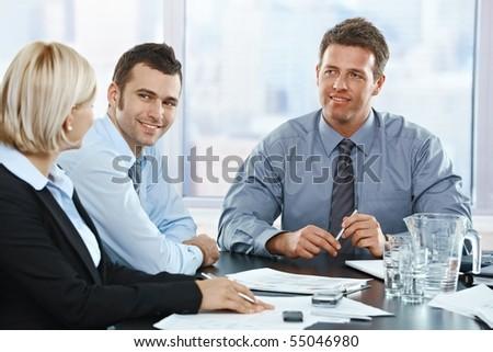 business people talking. usiness people talking on