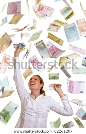 Happy business woman catching falling Euro money