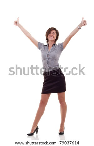 Happy business woman excited giving thumbs up. Isolated on white background