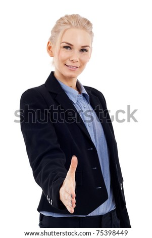 happy business woman giving hand for handshake, isolated on white