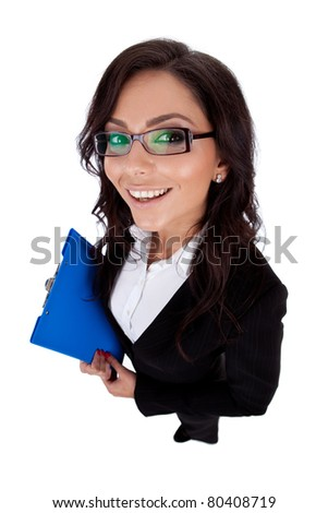 happy business woman holding a clipboard(isolated on white) - wide angle shot