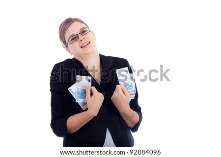 Happy business woman holding Euro banknotes, isolated on white background.