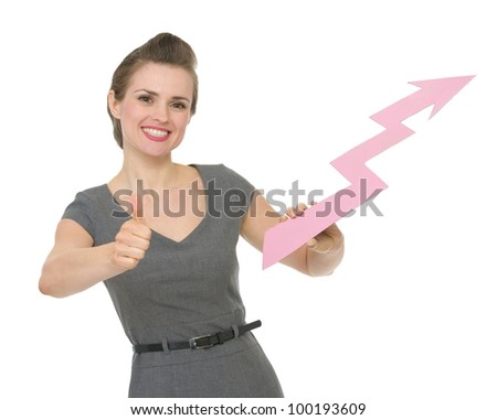 Happy business woman holding increasing chart arrow and showing thumbs up. HQ photo. Not oversharpened. Not oversaturated