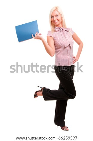 Happy business woman holding reports