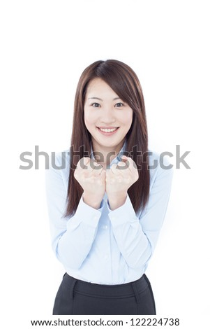 happy business woman isolated on white background.