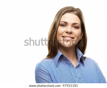 Happy business woman isolated on white background