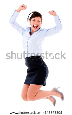 Happy business woman j...