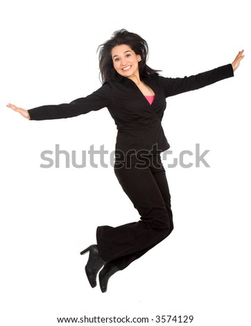 stock photo : happy business woman jumping over a white background
