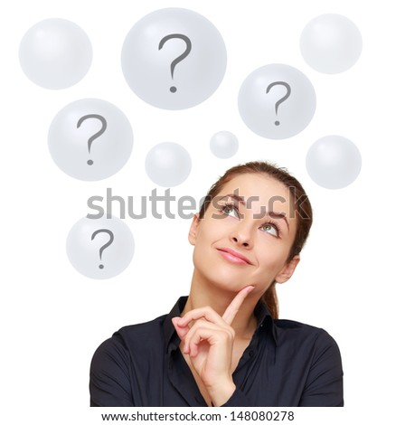 Happy business woman looking on questions in bubbles isolated on white background
