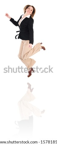 happy business woman on an isolated white background