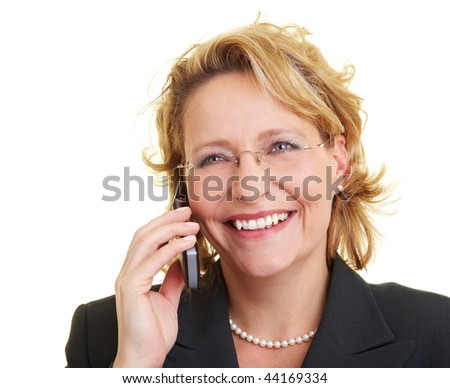 Happy business woman using her cell phone