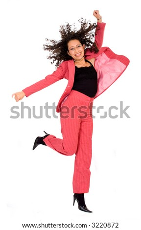 happy business woman with a big smile jumping dressed in red over a white background