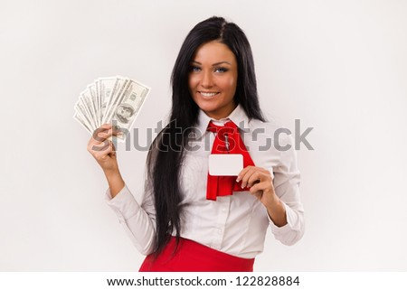 Happy business woman with dollars and bank card over white
