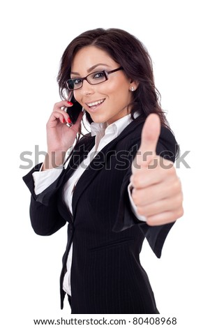 Happy business woman with phone and thumbs up gesture, isolated