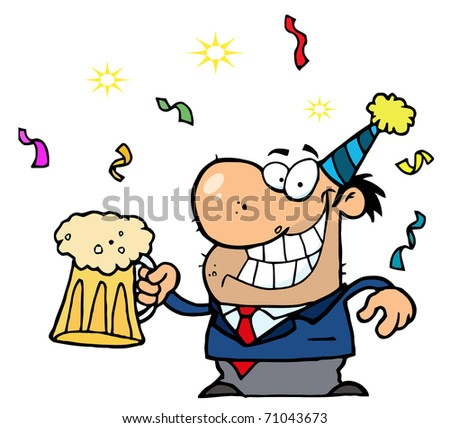 Happy Businessman Celebrating At A Party With Beer