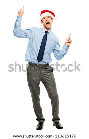 Happy businessman dancing excited about Christmas bonus full length portrait isolated on white background