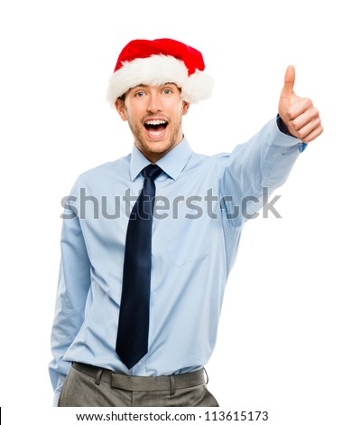 Happy businessman excited about Christmas bonus portrait isolated on white background