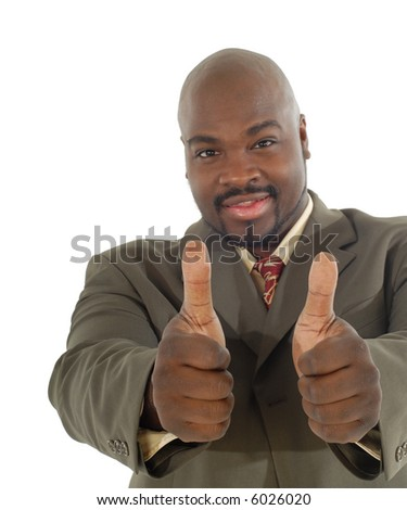 Happy businessman giving a thumbs up with the focus on the hands; cleanly isolated on white