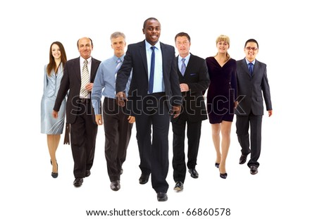 Happy businessman going in front of her team