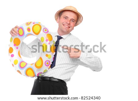 Happy businessman going on vacation with his life ring. Travel insurance metaphor.