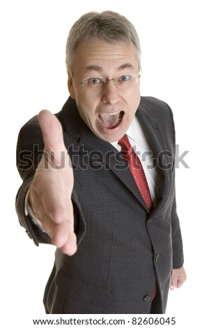 Happy businessman greeting handshake