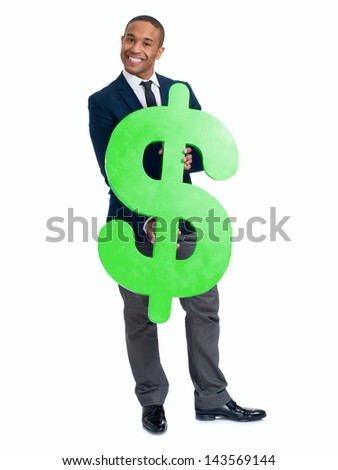 Happy Businessman Holding Dollar Sign Over White Background
