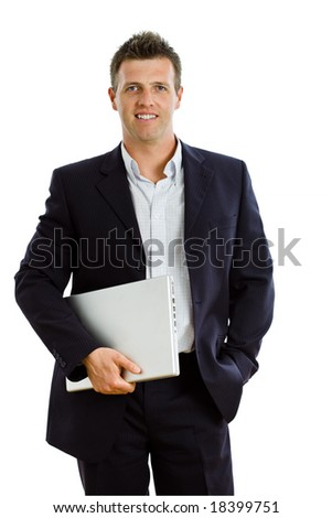 Happy businessman holding laptop computer, smiling, isolated on white