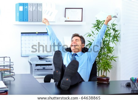 Happy businessman  in the office