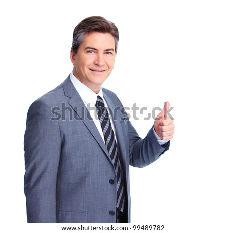 Happy businessman. Isolated on white background.