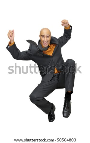 Happy businessman jumping high isolated in white