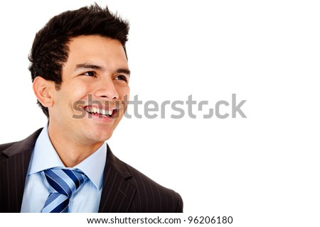 Happy businessman laughing - isolated over a white background