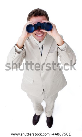 Happy businessman looking through binoculars isolated on a white background