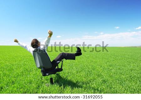 Happy businessman on chair in green field