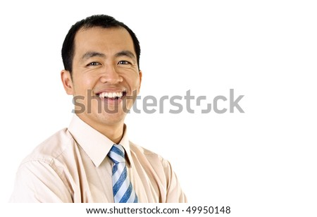 Happy businessman portrait with smile expression on white background.