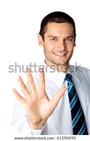 Happy businessman showing five fingers, isolated on white