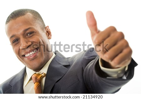 Happy businessman showing his thumb up with smile over white background