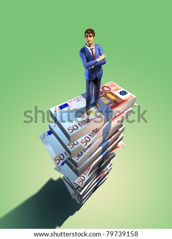 Happy businessman standing at the top of a huge pile of euro bills. Digital illustration, clipping path to separate main subject from background included.