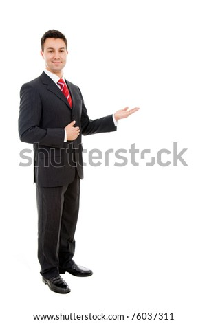 Happy businessman with arm out in a welcoming gesture , isolated on white background - stock photo
