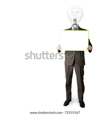 happy businessman with lamp-head holding blank white card in his hands
