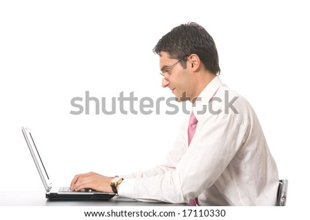 Happy businessman with laptop, isolated on white