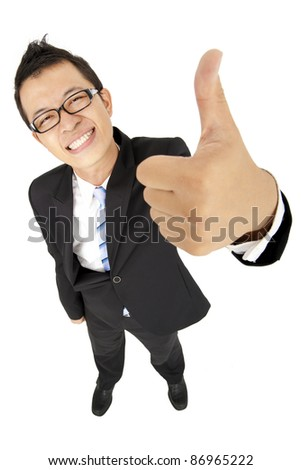 happy businessman with thumb up